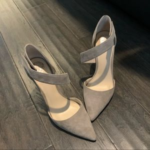 Taupe suede pumps